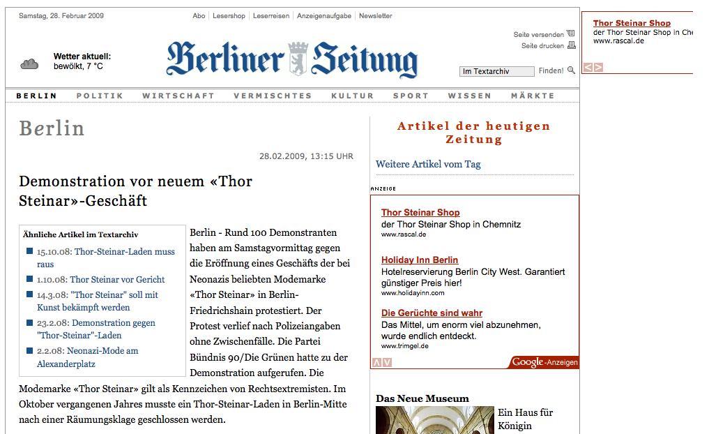 Berliner Zeitung macht Werbung für Thor Steinar