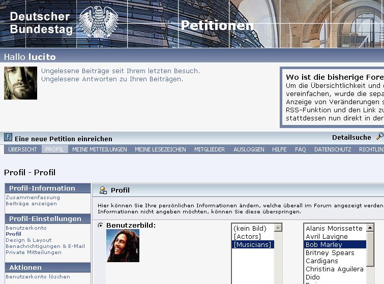 Bundestag / Petitonsseite