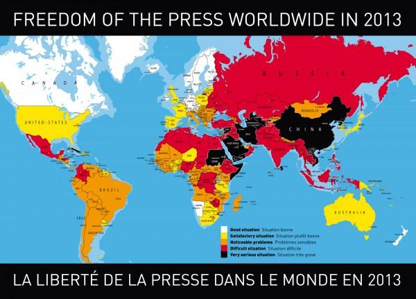 Karte: Reporter ohne Grenzen