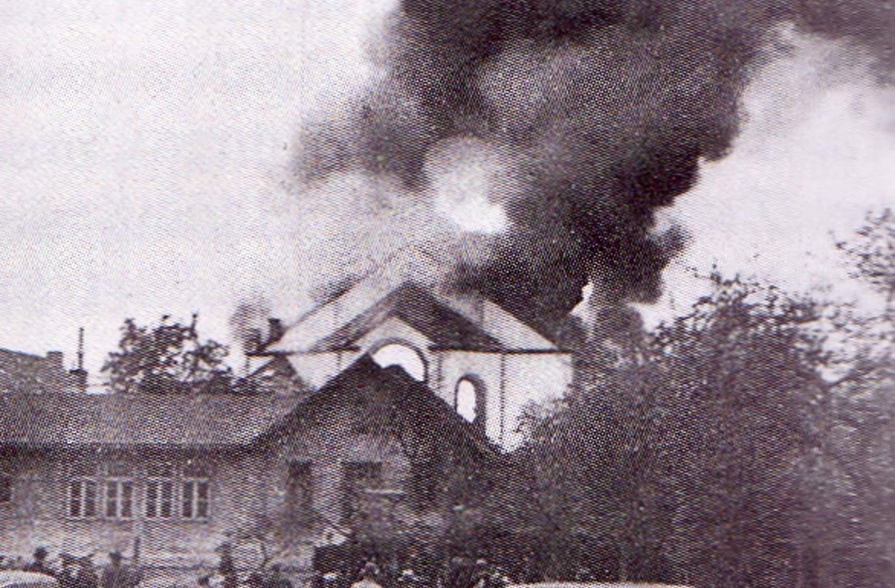 Brand der Rostocker Synagoge am 9.11.38